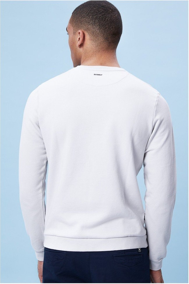 Sweat rayé blanc en coton bio - sherman - Ecoalf num 4