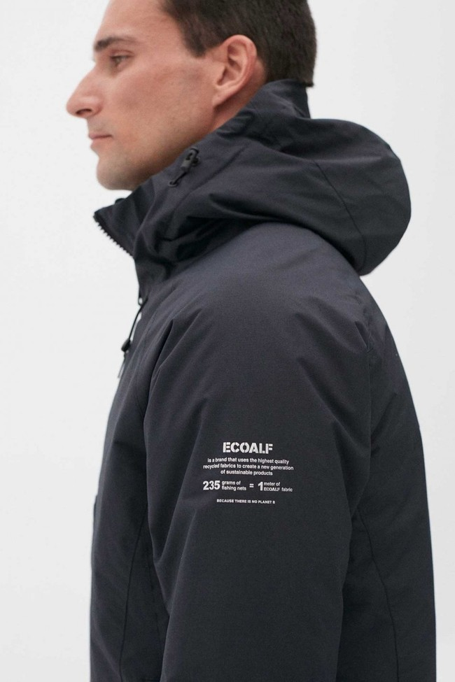 Manteau à capuche bleu marine en nylon recyclé - kilimanjaro - Ecoalf num 2