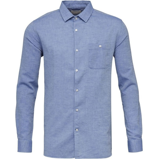 Chemise bleu tissé en coton bio et lin - structured shirt - Knowledge Cotton Apparel