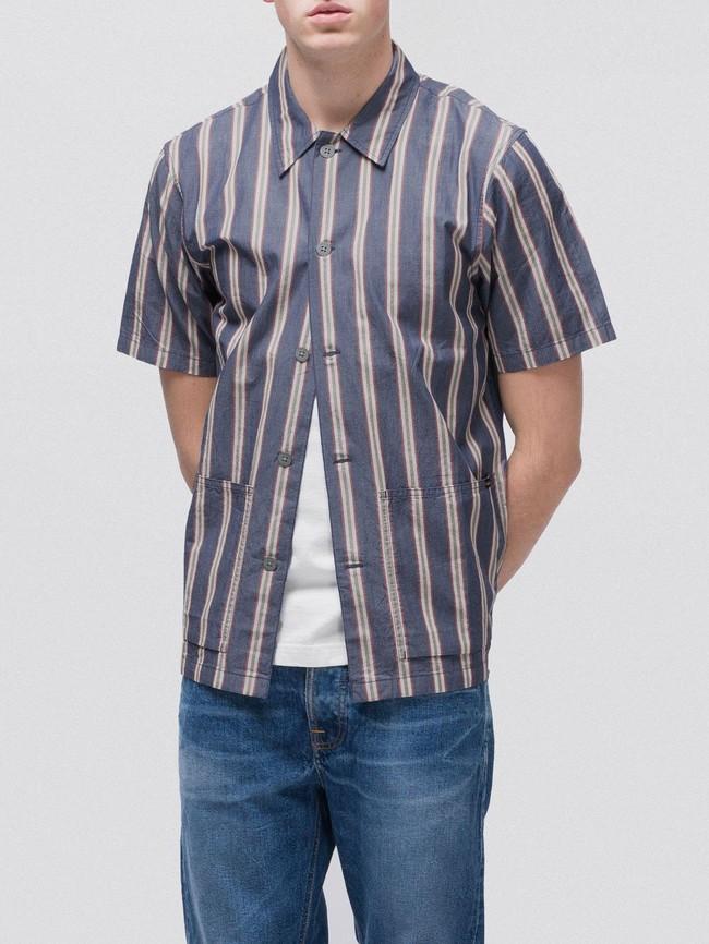 Chemise manches courtes rayée en coton bio - svante cuban - Nudie Jeans num 3