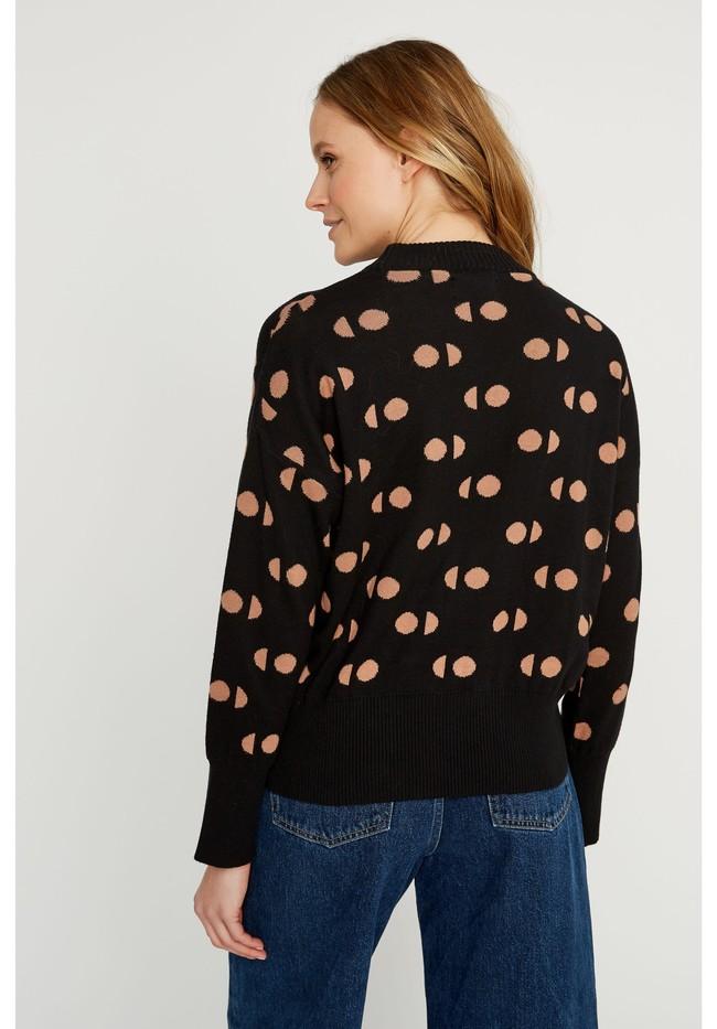 Pull à motifs noir en coton bio - emilia - People Tree num 1