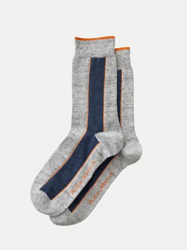 Chaussettes hautes grises en coton bio - olsson - Nudie Jeans