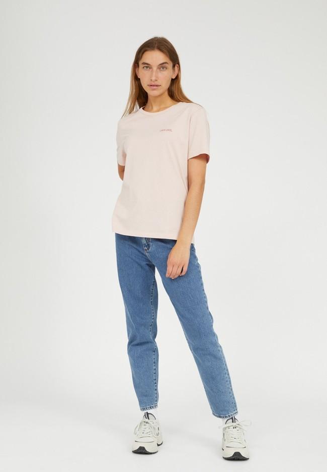 T-shirt brodé rose pâle en coton bio - maraa mindset - Armedangels num 3
