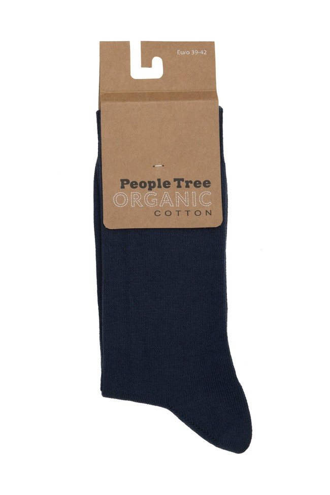Chaussettes hautes marine coton biologique - organic cotton socks in navy - People Tree