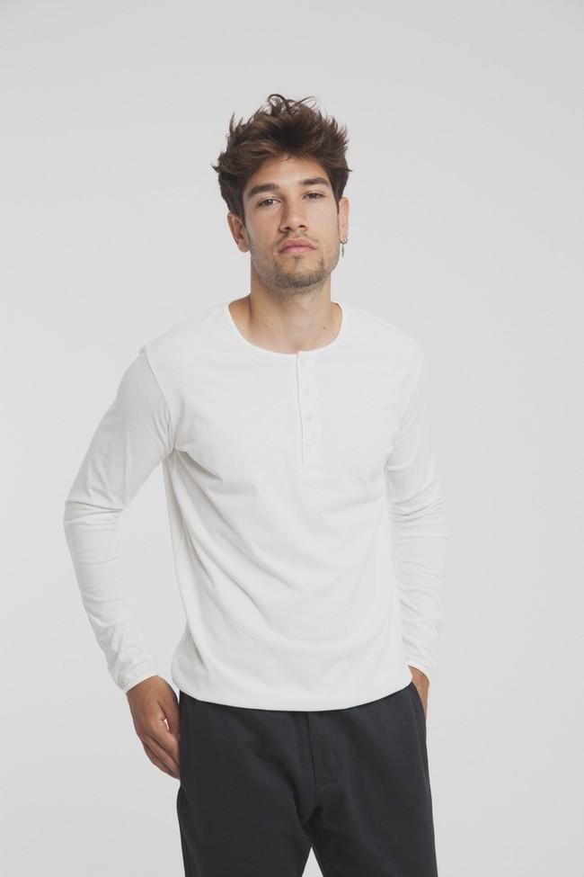 T-shirt blanc manches longues coton biologique - pristine basic baker tee - Thinking Mu num 1