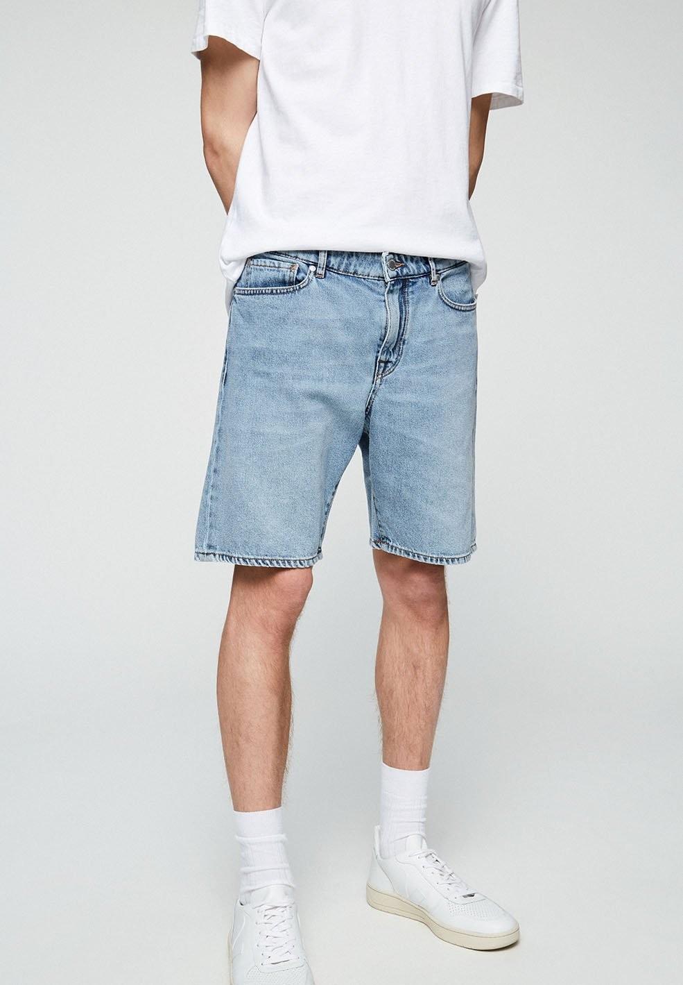 Short jean bleu clair délavé en coton bio - haauke - Armedangels