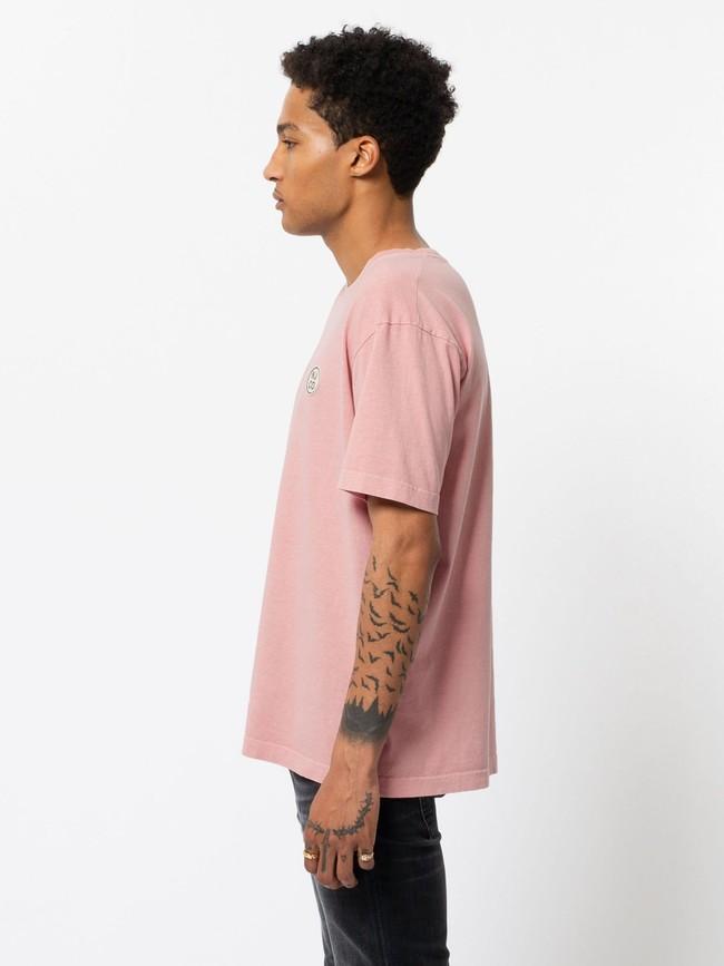 T-shirt ample rose logo blanc en coton bio - uno njco circle - Nudie Jeans num 1