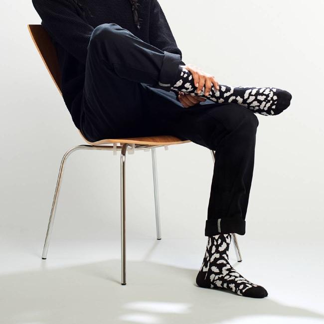 Chaussettes hautes à motifs noir et blanc en coton bio - Dedicated num 1