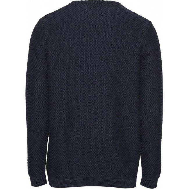 Pull col rond bleu nuit en coton bio - field crew neck knit - Knowledge Cotton Apparel num 1