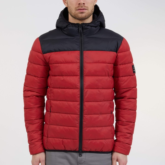Doudoune à capuche bicolore rouge et noir en polyester recyclé - asp - Ecoalf num 1