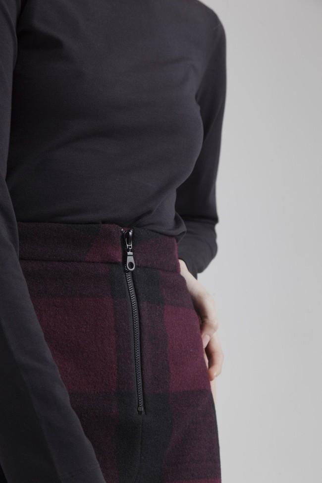 Jupe à carreaux en polyester recylé et laine bio - mary - Thinking Mu num 3