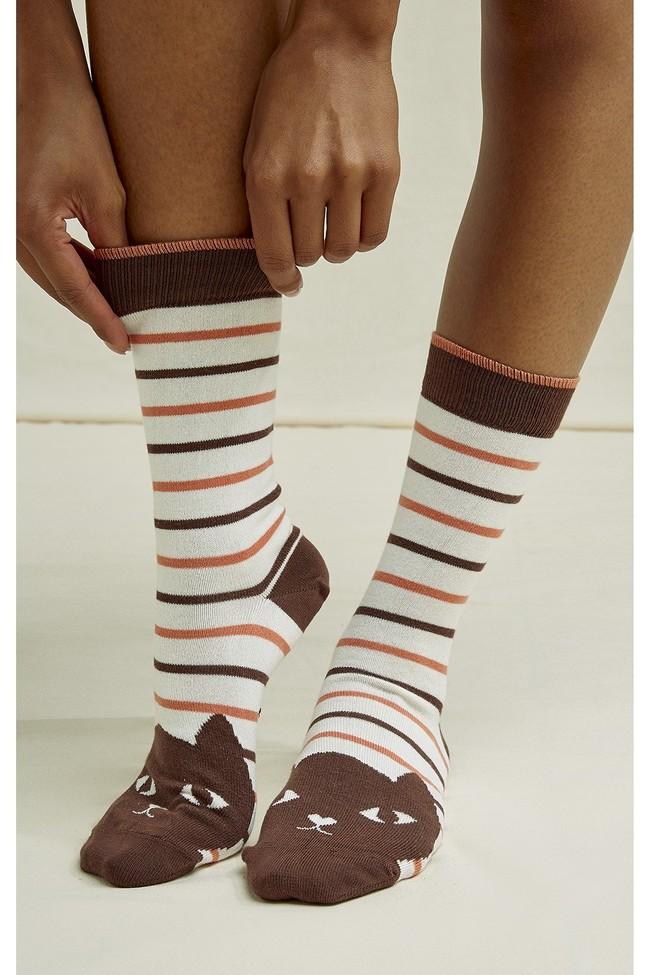 Chaussettes hautes rayées à motifs chats en coton bio - People Tree num 2