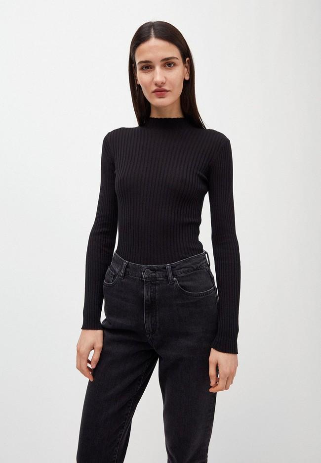 Sous-pull côtelé noir en coton bio - alaani - Armedangels