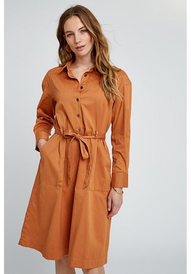 Robe longue unie camel en coton bio – penny - People Tree num 1