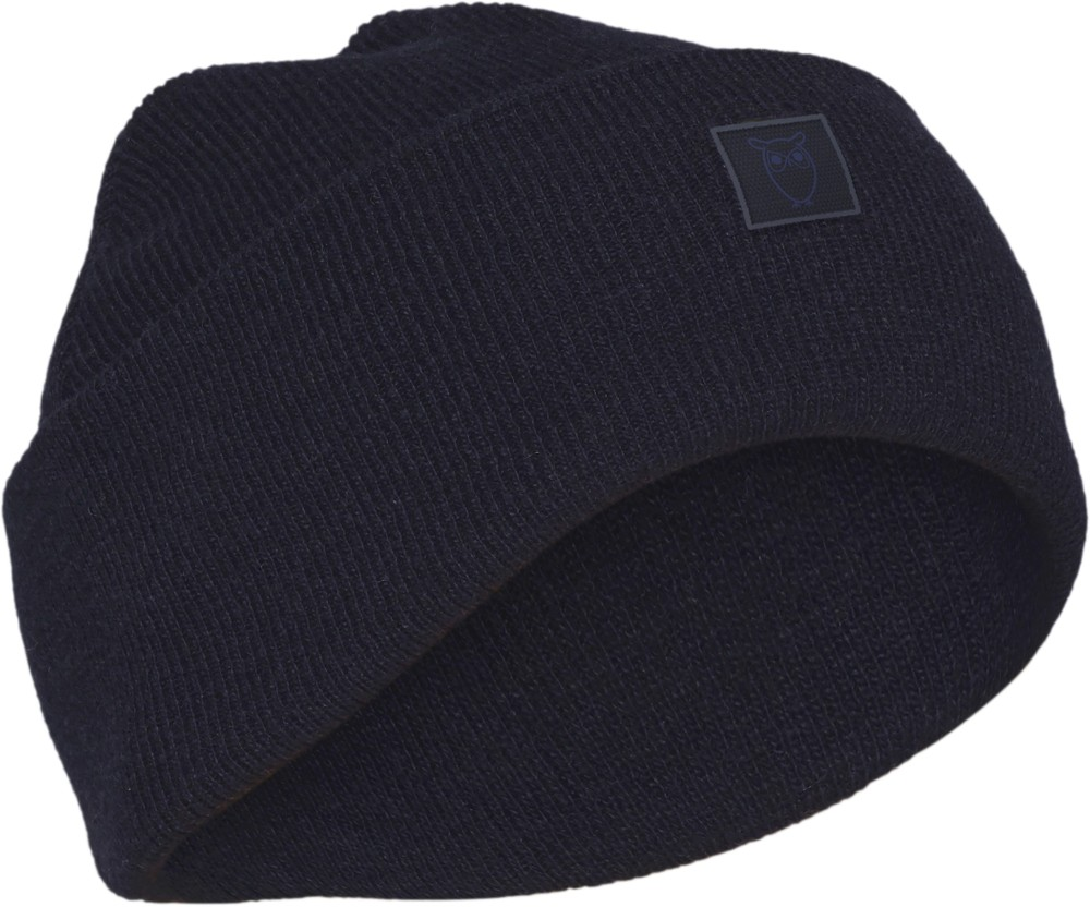 Bonnet bleu nuit en laine bio - leaf - Knowledge Cotton Apparel