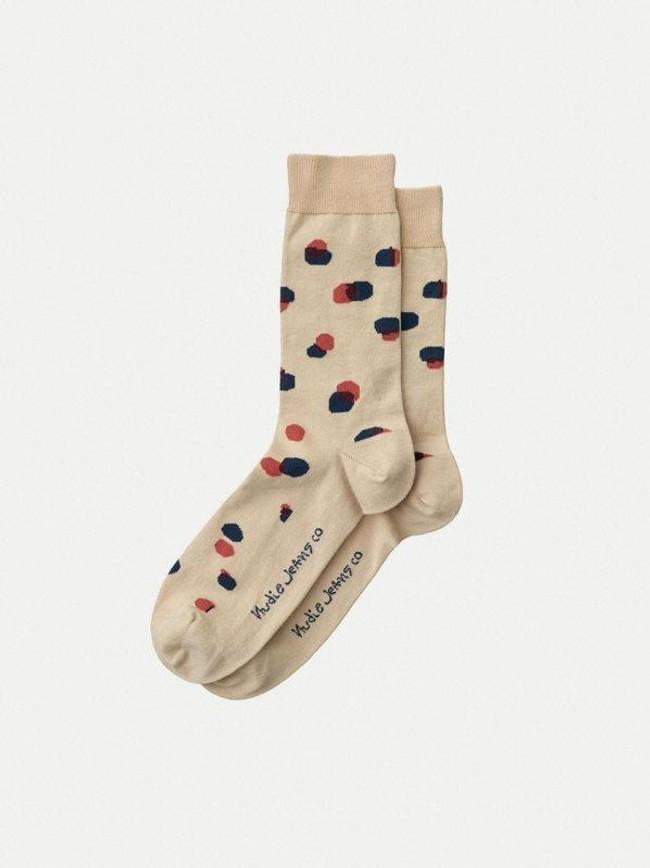Chaussettes hautes beiges à pois en coton bio - olsson - Nudie Jeans