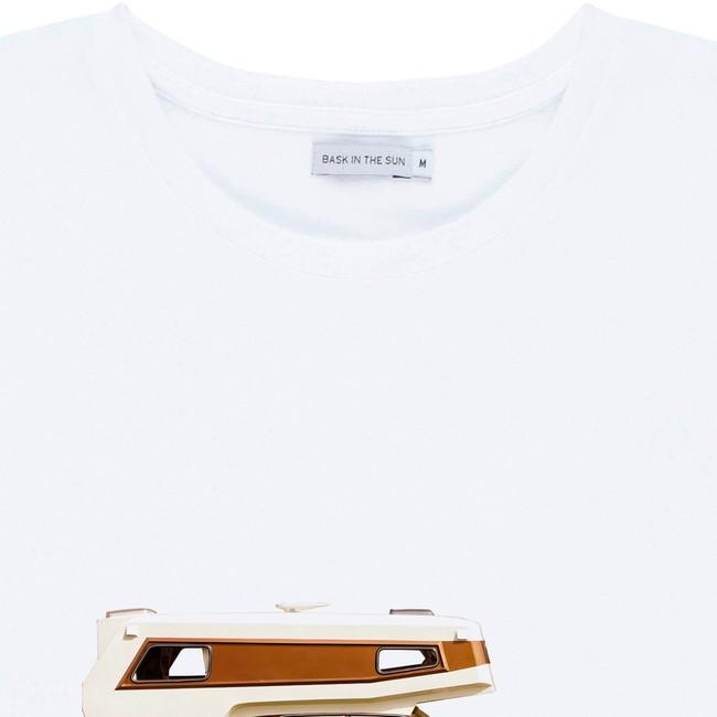 T-shirt en coton bio white on the road - Bask in the Sun num 1