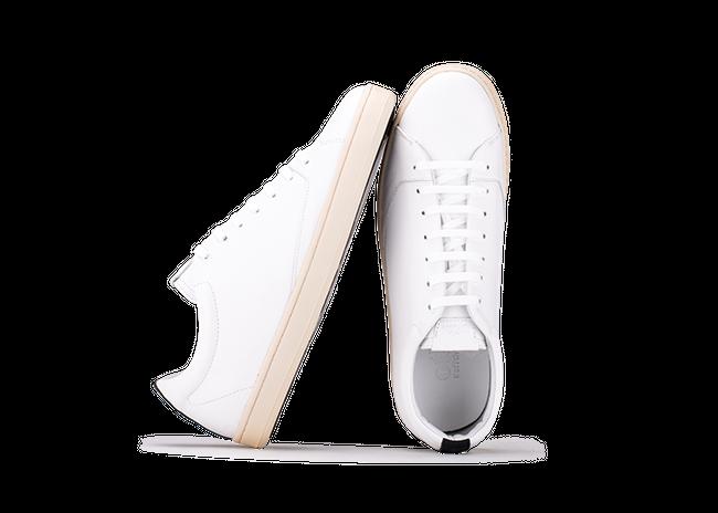 Chaussure semelle pneu recyclé cuir recyclé blanc - graviere - Oth num 1