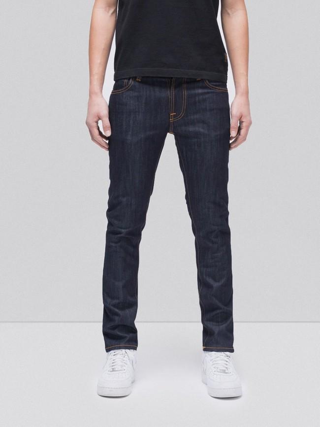 Jean slim brut en coton bio - thin finn dry ecru embo - Nudie Jeans