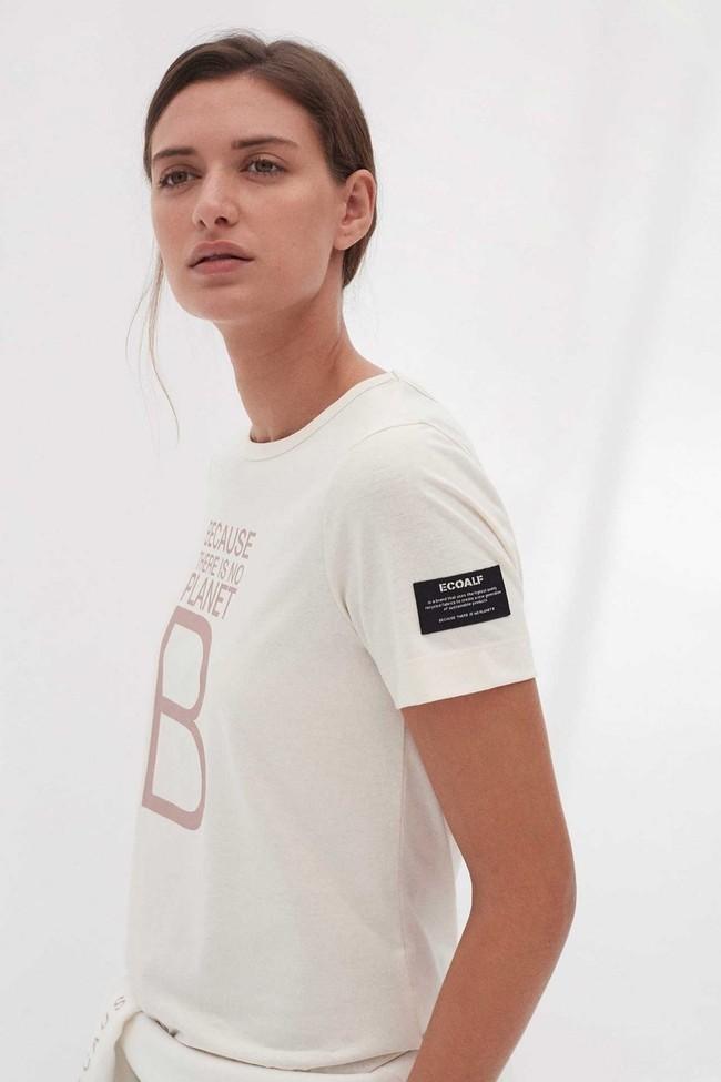 T-shirt imprimé blanc en polyester et coton recyclés - mariela big b - Ecoalf num 2
