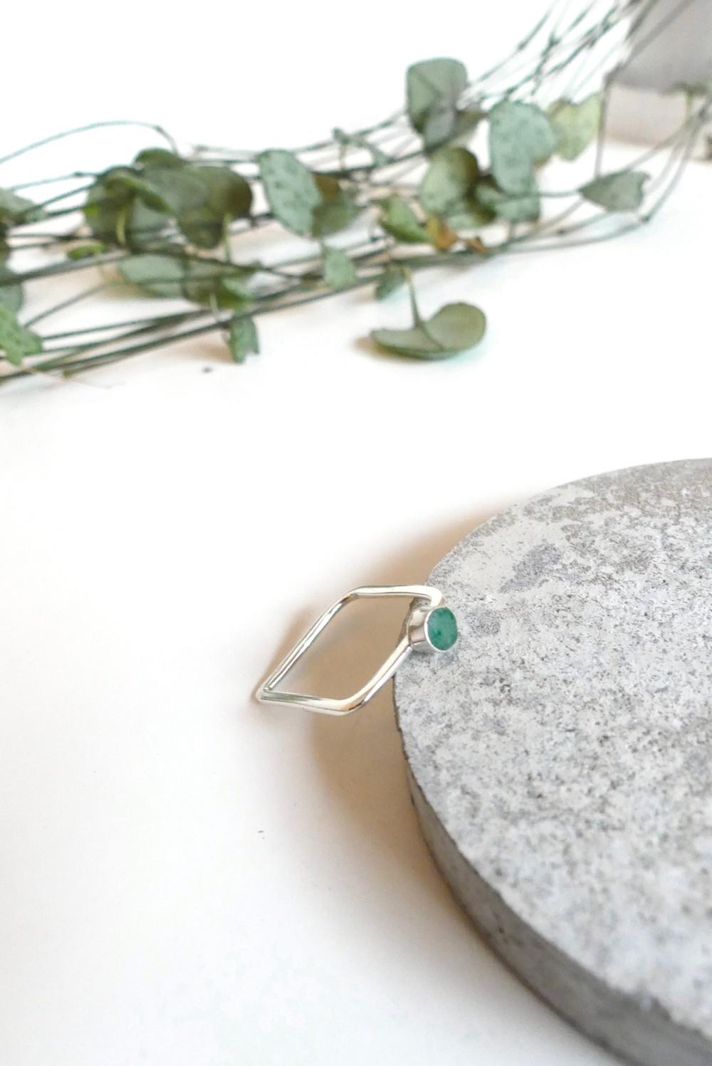 Bague carrée béton et argent - vert - Elle & Sens