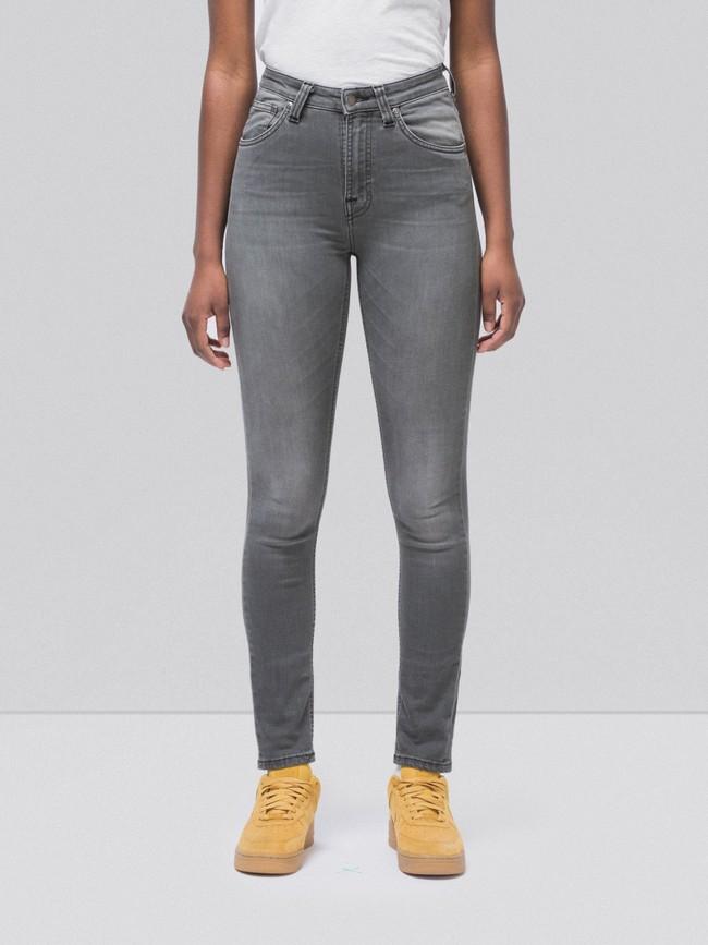 Jean skinny taille haute gris délavé en coton bio - hightop tilde grey wash - Nudie Jeans