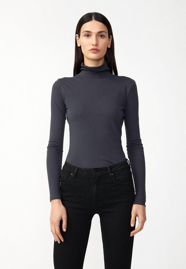 T-shirt manches longues col roulé gris en coton bio - malenaa - Armedangels