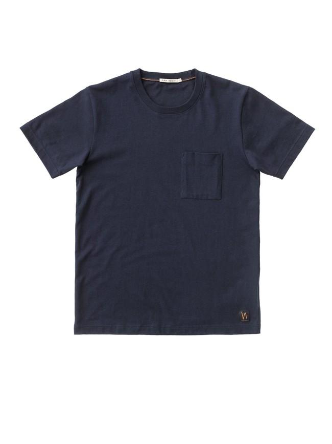 T-shirt bleu marine avec poche en coton bio - kurt - Nudie Jeans num 3