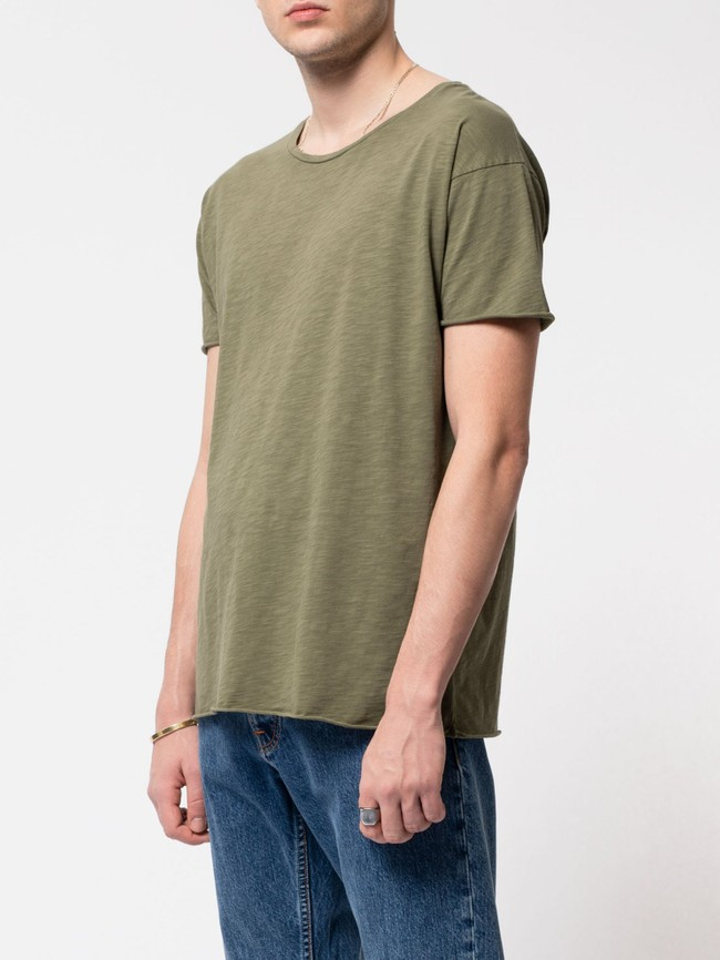T-shirt kaki en coton bio - roger - Nudie Jeans num 1