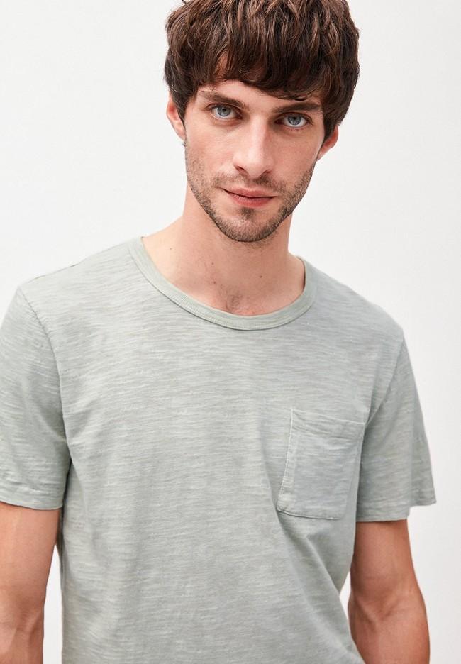 T-shirt avec poche gris/vert en coton bio - paaul pocket - Armedangels num 1