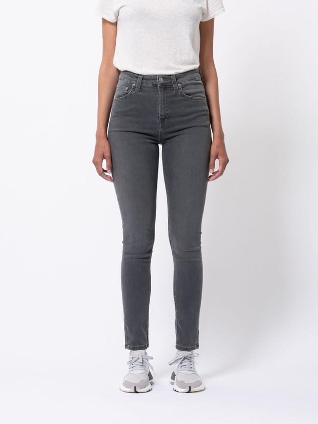 Jean skinny taille haute gris - hightop tilde concrete grey - Nudie Jeans