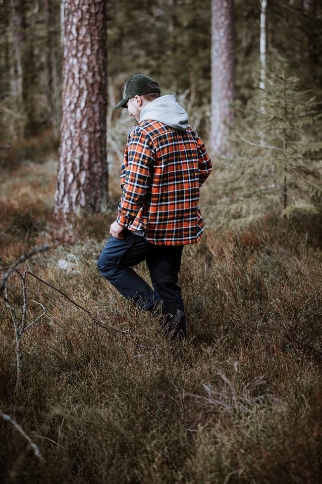 Surchemise à carreaux orange et marron en coton bio - pine - Knowledge Cotton Apparel num 3