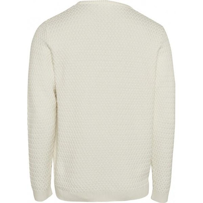 Pull blanc en coton bio - small diamond knit - Knowledge Cotton Apparel num 1