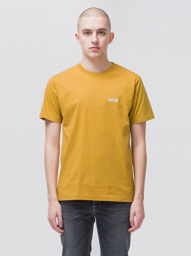 T-shirt jaune en coton bio - daniel - Nudie Jeans