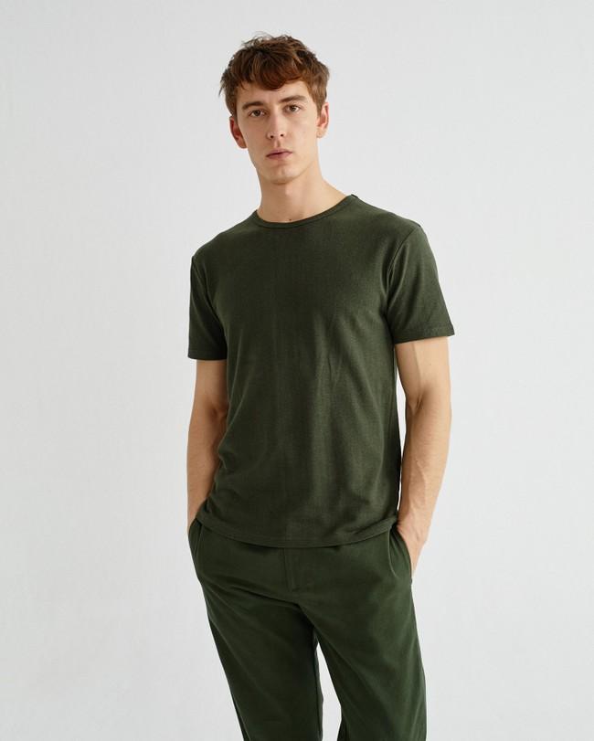 T-shirt vert forêt en chanvre et coton bio - mo2 - Thinking Mu