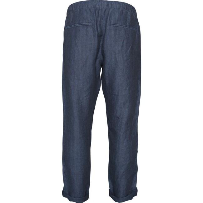 Pantalon ample marine en lin bio - fishbone - Knowledge Cotton Apparel num 1