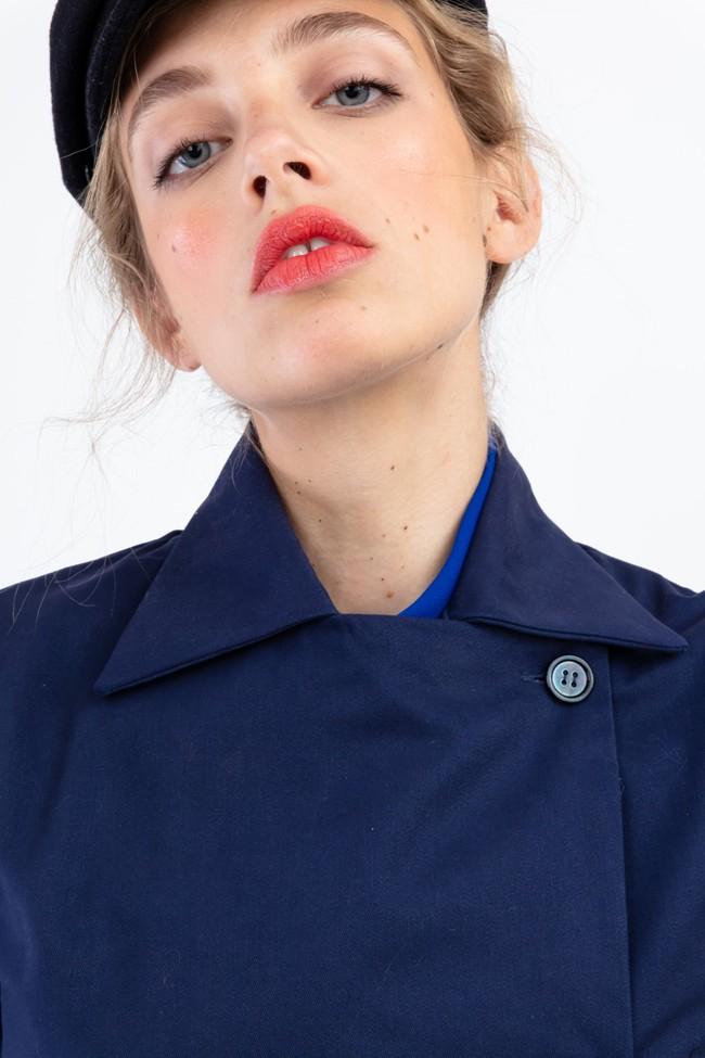 """Veste """"la redoutable"""" en coton upcyclé bleu marine - Bleu Tango num 1"""