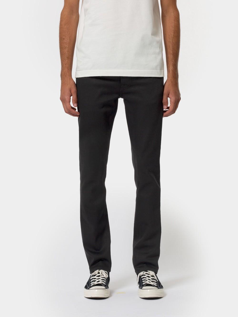 Jean slim noir en coton bio - grim tim dry ever black - Nudie Jeans