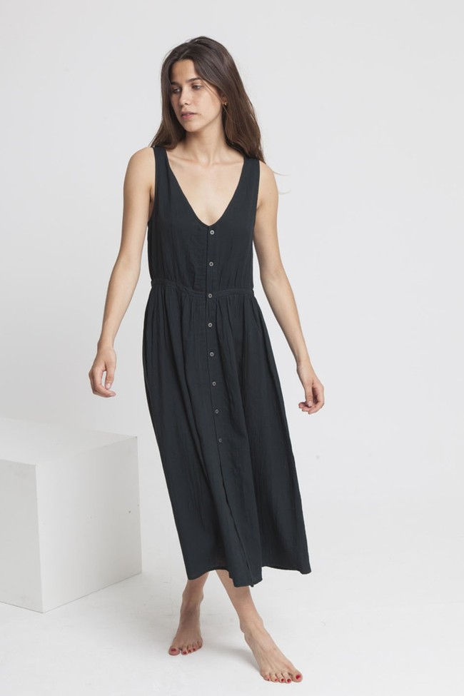 Robe longue unie noire en coton bio - angelina - Thinking Mu