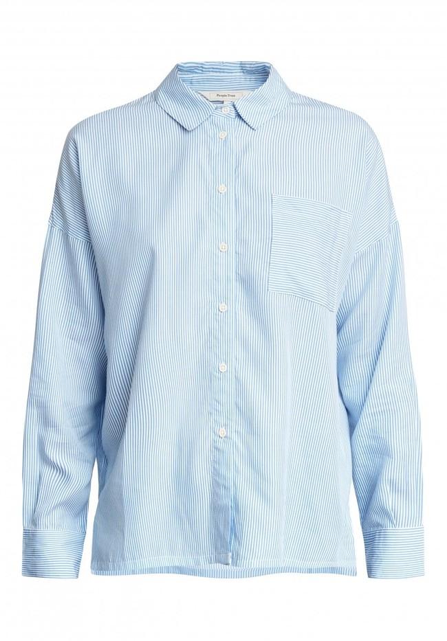 Chemise rayée bleu ciel en tencel - alice - People Tree num 5