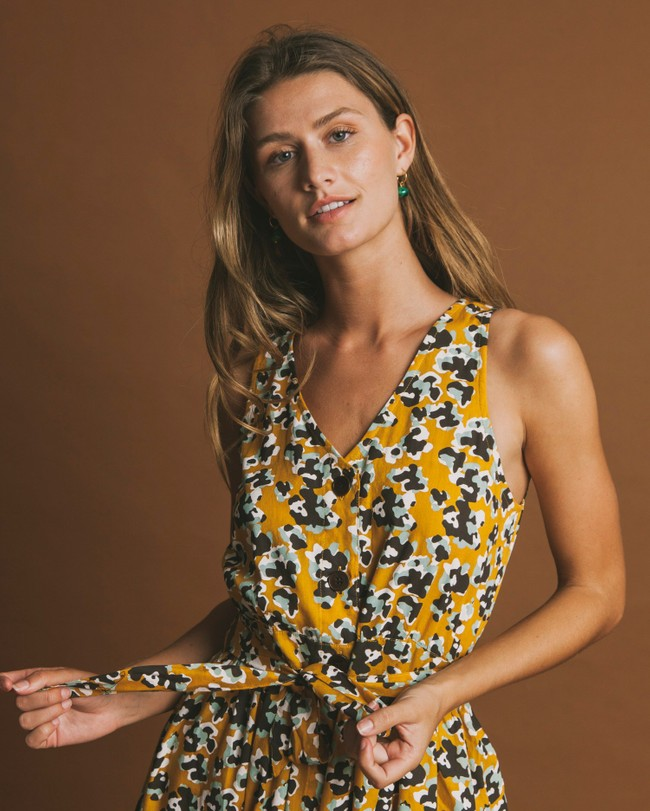 Robe longue jaune motifs fleurs en coton bio - abstract flowers - Thinking Mu num 2