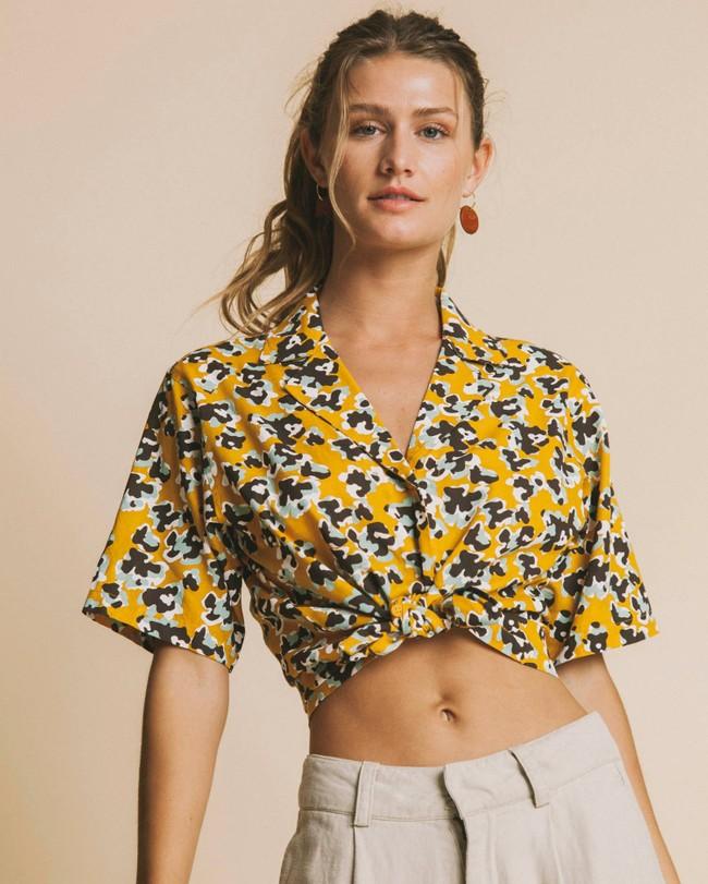 Blouse jaune imprimé fleurs en coton bio - flowers lomami - Thinking Mu num 1