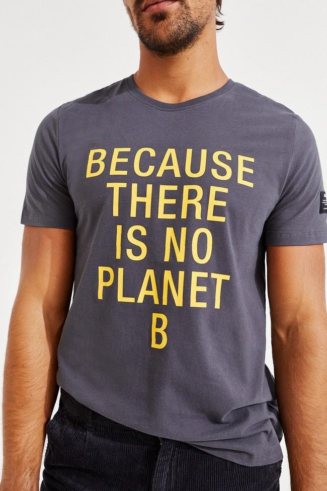 T-shirt gris imprimé jaune en coton bio - natal classic because - Ecoalf num 1