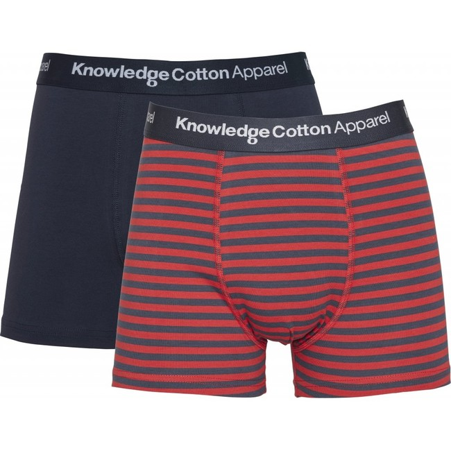 Pack 2 boxers rouge et bleu marine en coton bio - maple - Knowledge Cotton Apparel