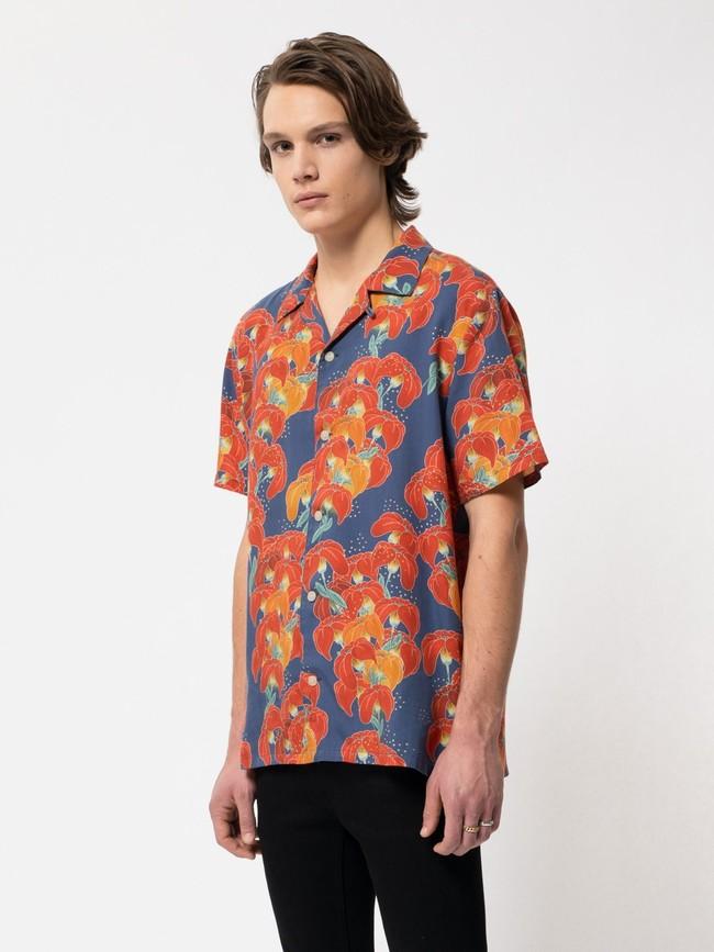 Chemise manches courtes à fleurs en coton bio  - arviid - Nudie Jeans num 1