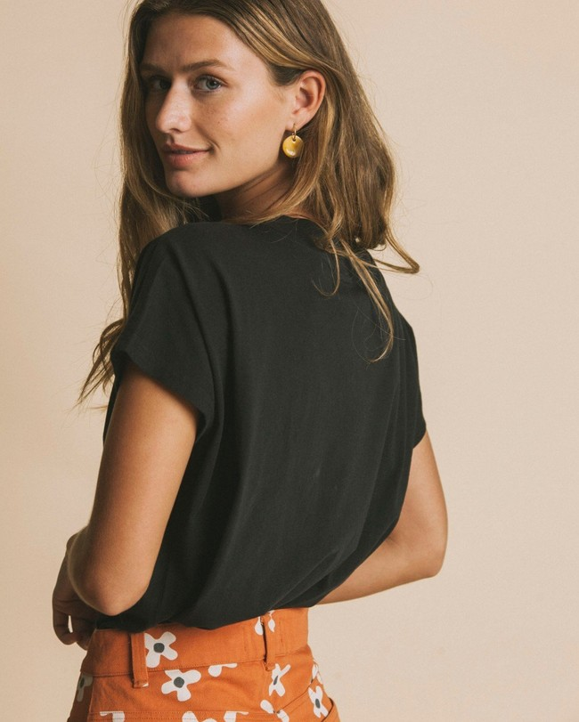 T-shirt noir en coton bio - volta - Thinking Mu num 2