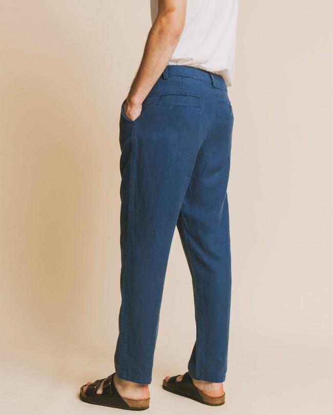 Pantalon bleu canard en chanvre et tencel - marcelino - Thinking Mu num 1