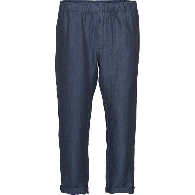 Pantalon ample marine en lin bio - fishbone - Knowledge Cotton Apparel