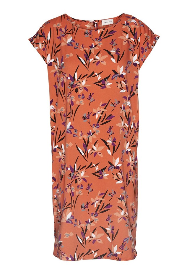 Robe orange à motifs en tencel - hilaa tropical spirit - Armedangels num 4