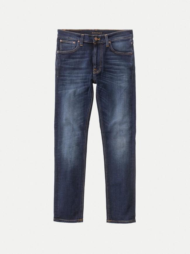 Jean slim délavé bleu foncé coton bio - lean dean dark deep worn - Nudie Jeans num 3